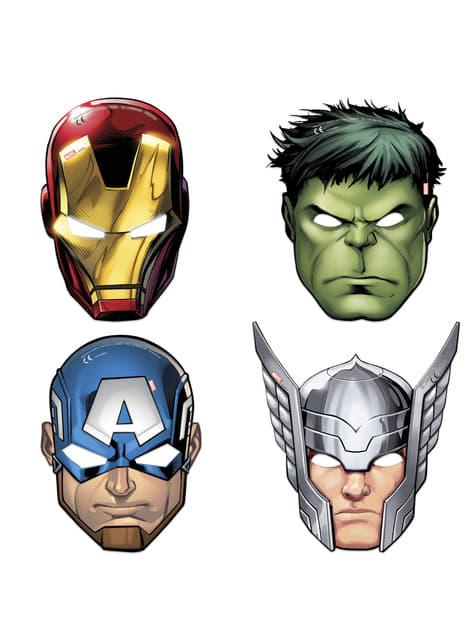 Conjunto de 6 caraças variadas de Os Vingadores Imponentes