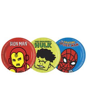 8 platos variados de Los Vengadores (23cm) - Avengers Cartoon