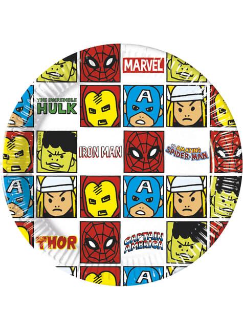 8 platos de Los Vengadores (20cm) - Avengers Cartoon