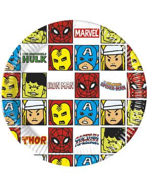 Sæt af 8 The Avengers Team Power tallerkner