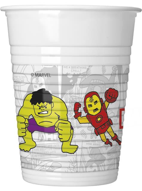 8 copos de plástico de Os Vingadores Equipa do Poder - Avengers Cartoon