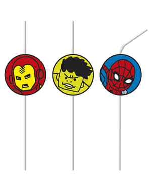 6 The Avengers Team Power straws - Avengers Cartoon