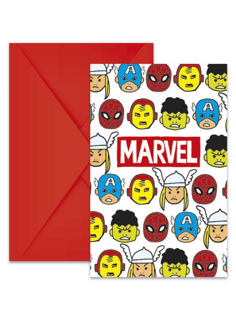 6 The Avengers Team Power invitations - Avengers Cartoon
