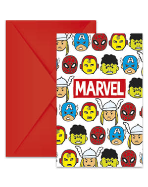 6 The Avengers Team Power Uitnodigingen - Avengers Cartoon