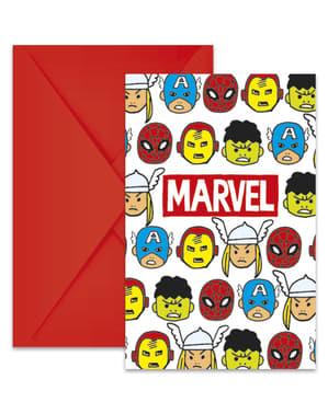 Sett med 6 The Avengers Team Power invitasjoner