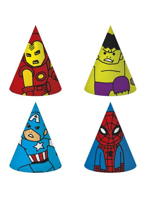 6 gorritos variados de cartón de Los Vengadores - Avengers Cartoon