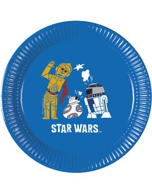 Sett med 8 The Force of Star Wars plast tallerken