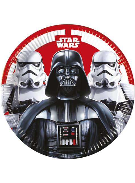 8 Teller Set mit Star Wars Endkampf Motiv