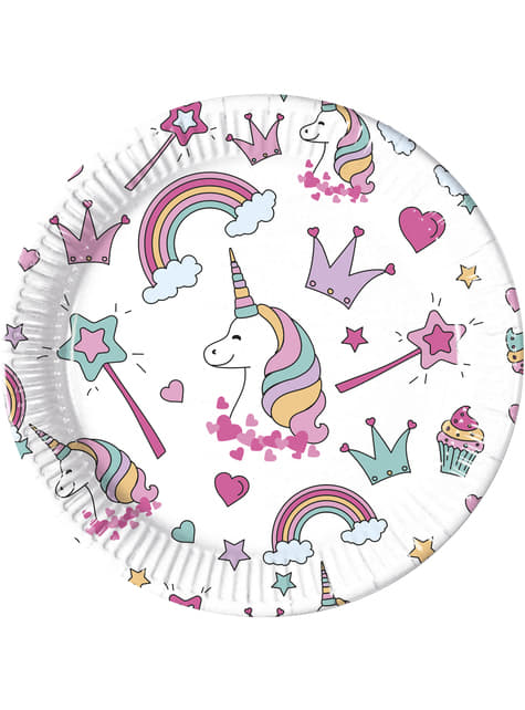 8 platos de Unicornio (23cm) - Magic Party
