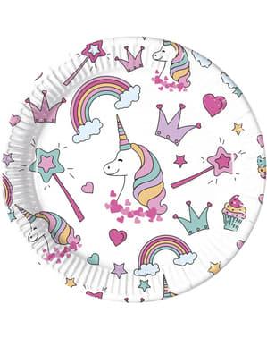 8 db egyszarvús tányér (23 cm) - Magic Party