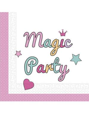 Sæt af 20 Enhjørminge magi fest servietter