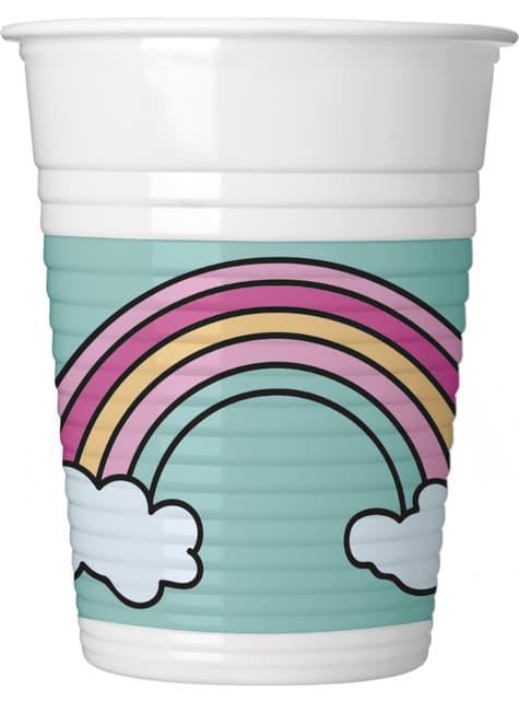 8 vasos de plástico de arcoiris - Magic Party