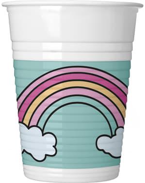 Sæt af 8 enhjørninge magi fest plastik kopper