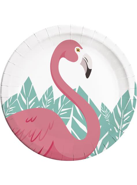 8 Teller Set mit rosa Flamingo Motiv