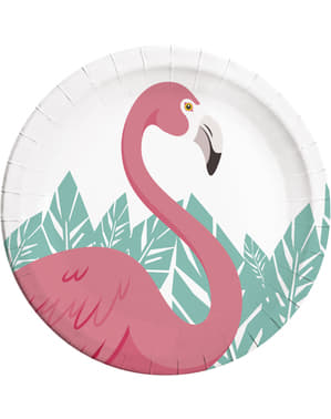 8 platos de flamenco rosa (23cm) - Flamingo