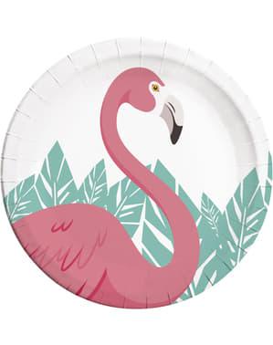 8 pratos de flamingo rosa (23cm) - Flamingo