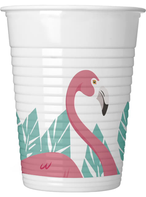 Set of 8 Pink Flamingo plastic cups