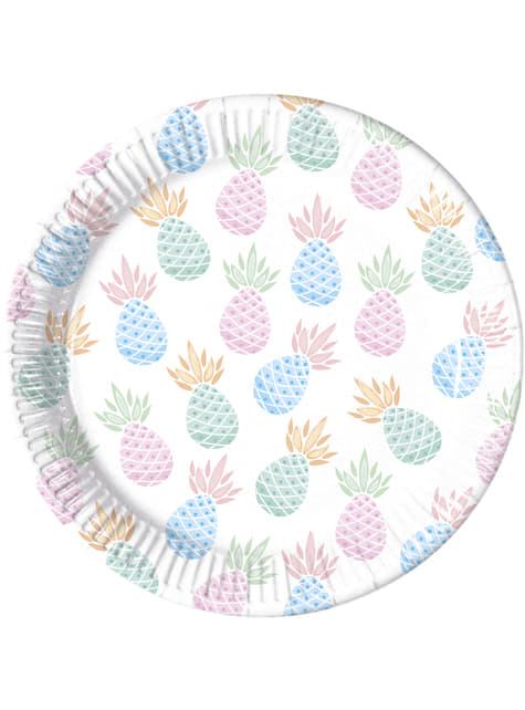 8 platos de piñas color pastel (23cm) - Pineapple