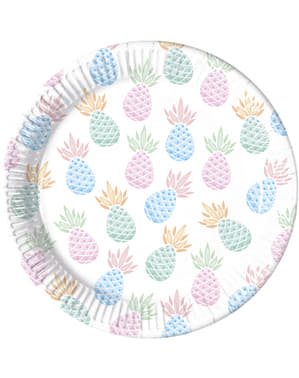 Set 8 tallrikar ananas pastelfärg