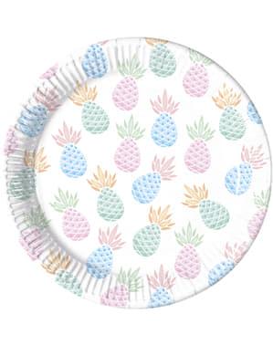 Sæt af 8 pastel farvede ananas tallerkner