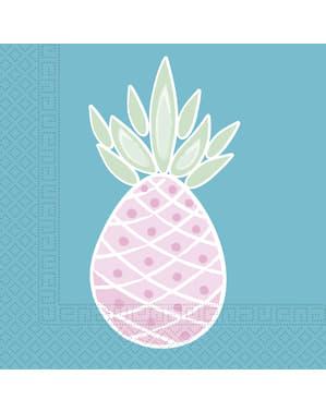 Zestaw 20 serwetek z ananasem pastelowy kolor