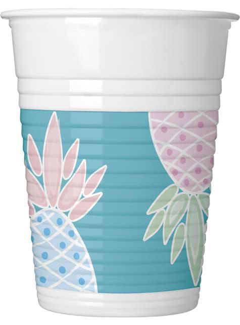 8 vasos de plástico de piñas color pastel - Pineapple