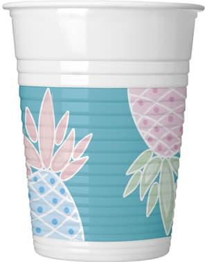 Zestaw 8 kubków plastikowych z ananasem w pastelowych kolorach