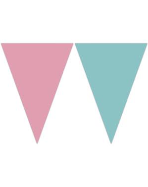 Dreieckige Fähnchen in rosa und türkis