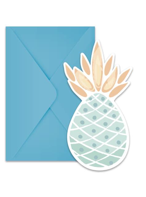6 invitations ananas pastel