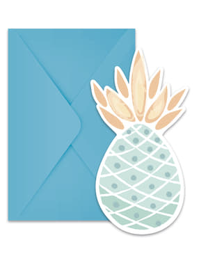 6 invitations ananas pastel