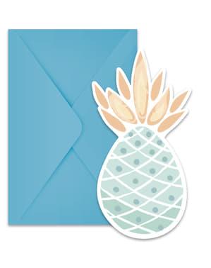 Sett med 6 Pastell Farget Ananas invitasjoner