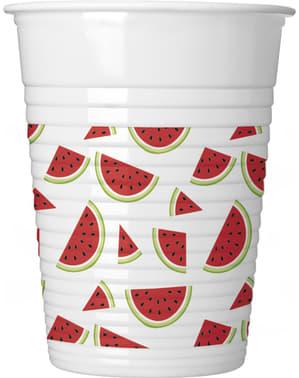 8 plastic Watermeloen bekers