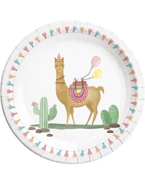 8 Teller Set mit Kaktus und Lama Motiv