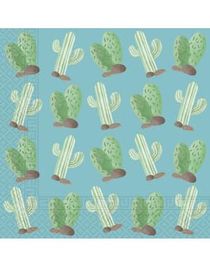 20 Serviettes en papier cactus et lama