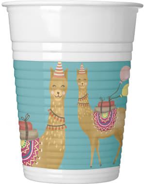 Sæt af 8 llama plastik kopper