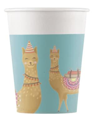 Sæt af 8 kaktus og llama kopper