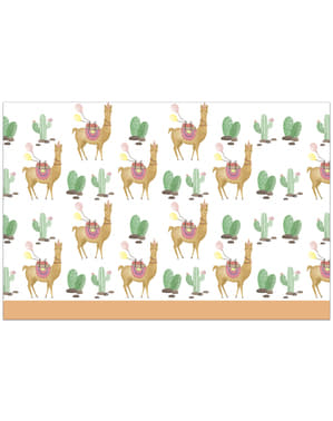 Cactus and llama plastic tablecloth