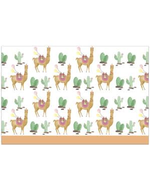 Plastik-Tischdecke mit Kaktus und Lama Motiv