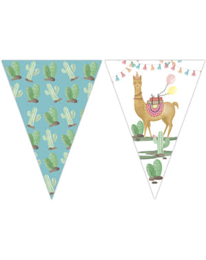 Dreieckige Fähnchen mit Kaktus und Lama Motiv