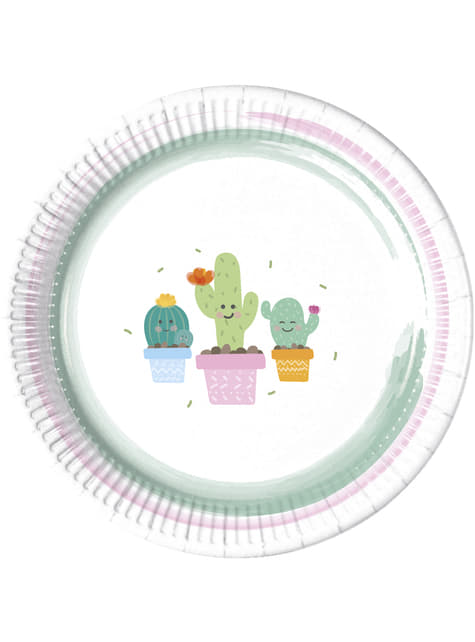 8 Teller Set mit lustigem Kaktus Motiv