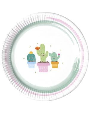 Zestaw 8 talerzy z zabawnym kaktusem
