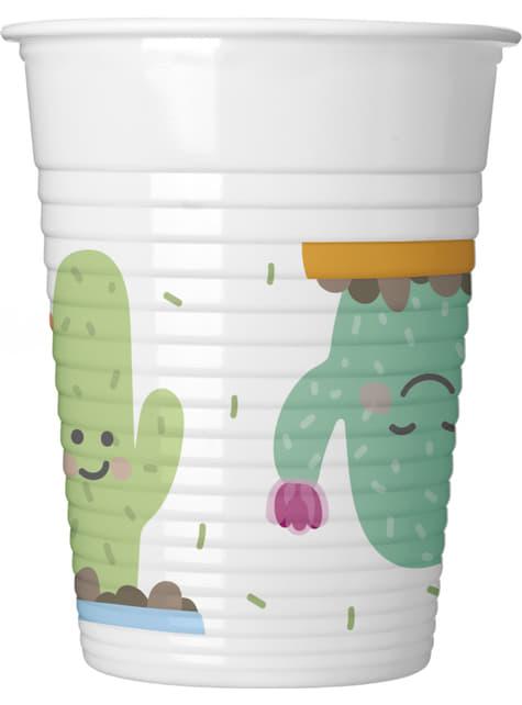 8 vasos de plástico de cactus graciosos