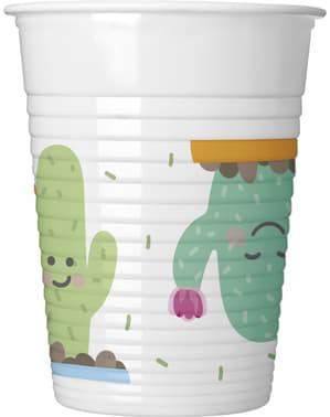 8 Plastikbecher Set mit lustigem Kaktus Motiv