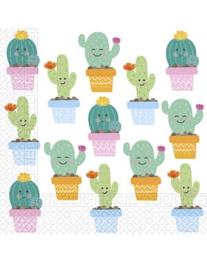 Sæt af 20 sjove kaktus servietter