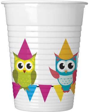 8 Fun Owls plastic cups