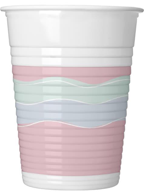 Set de 8 vasos de plástico de elegante tonos pastel