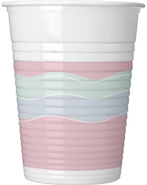 8 copos de plástico de elegante tons pastel