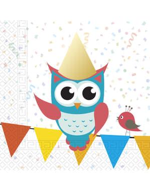 20 Fun Owls napkins (33x33 cm)