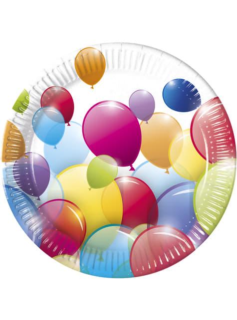 8 platos de globos arcoíris (23 cm)