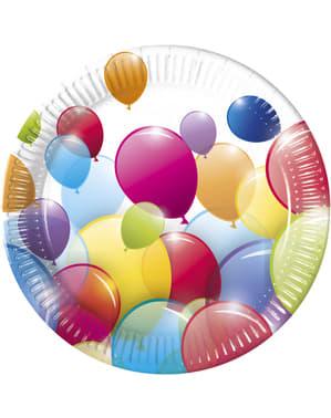 8 Teller Set mit Regenbogen-Luftballon Motiv 23 cm